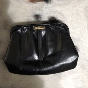 "Black Leather w/ gold detail 5 1/2"" x 8"" Clutch"